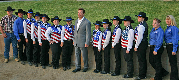 Riverside Rancheros Jr. Equestrian Team with Gov. Schwarzenegger